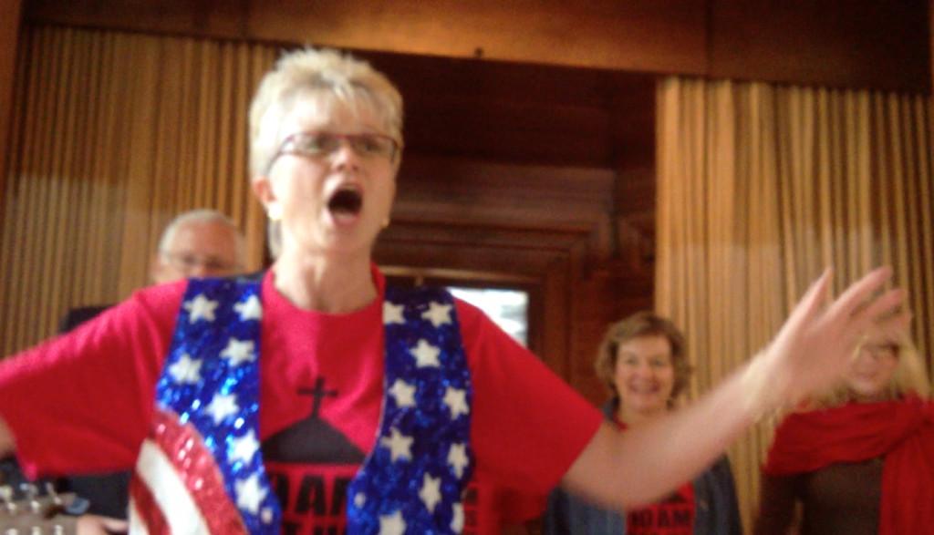 Jean rocks out while testifyin