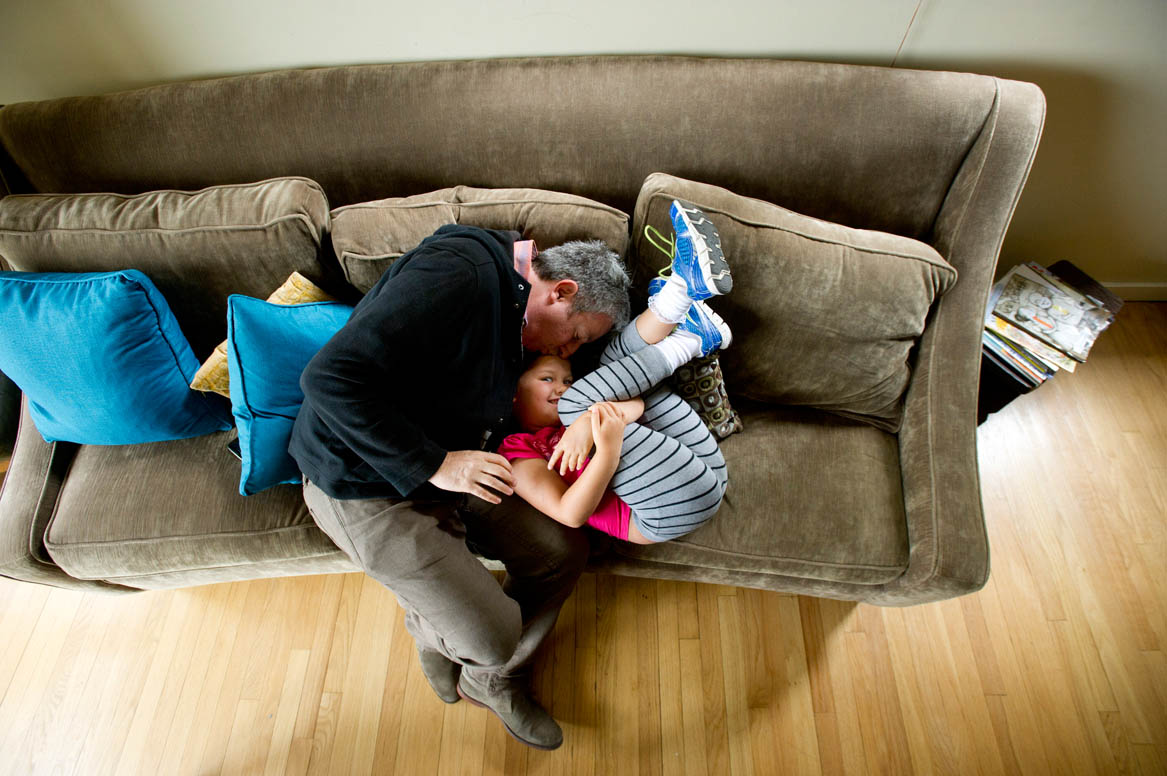Ellie Mowry-Silverman, 6, spends time with dad Joe Silverman in Sausalito
