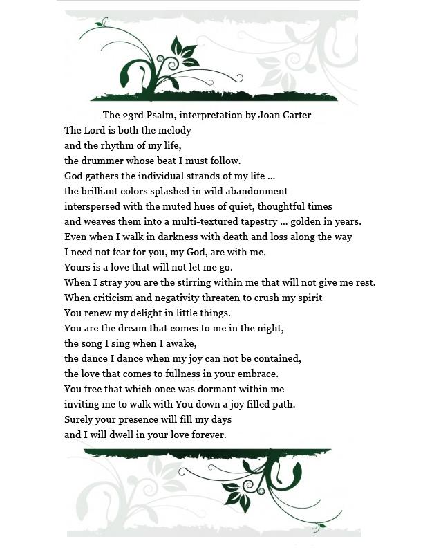 For Joans 23rd Psalm