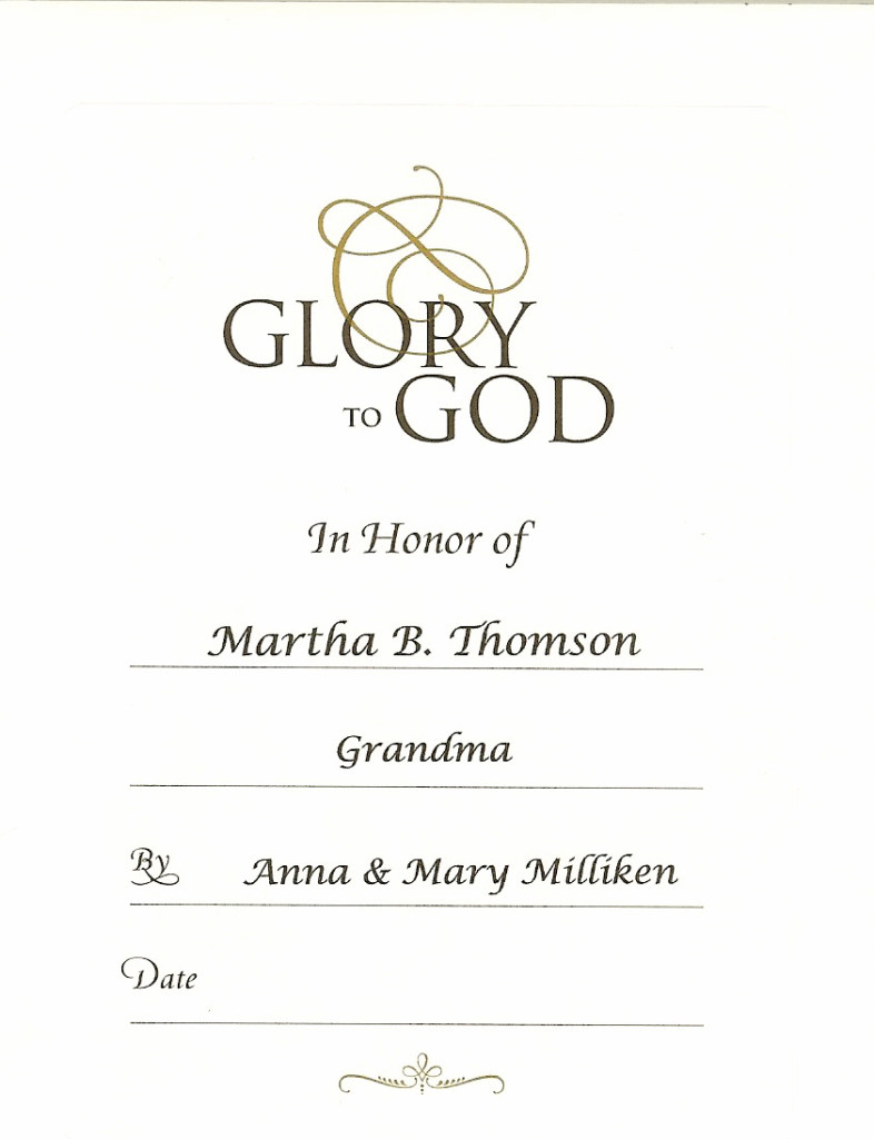 Martha B Thomson Anne Mary Milliken