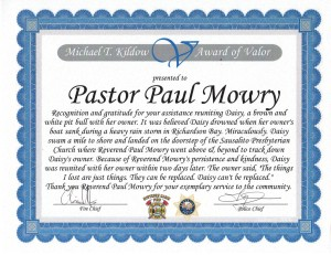 Award to Pastor Paul from the City Jan 2015