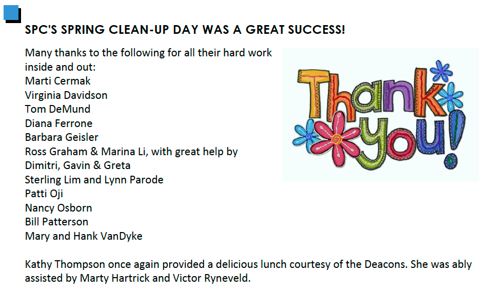 Spring Clean-Up Thank You SPINN