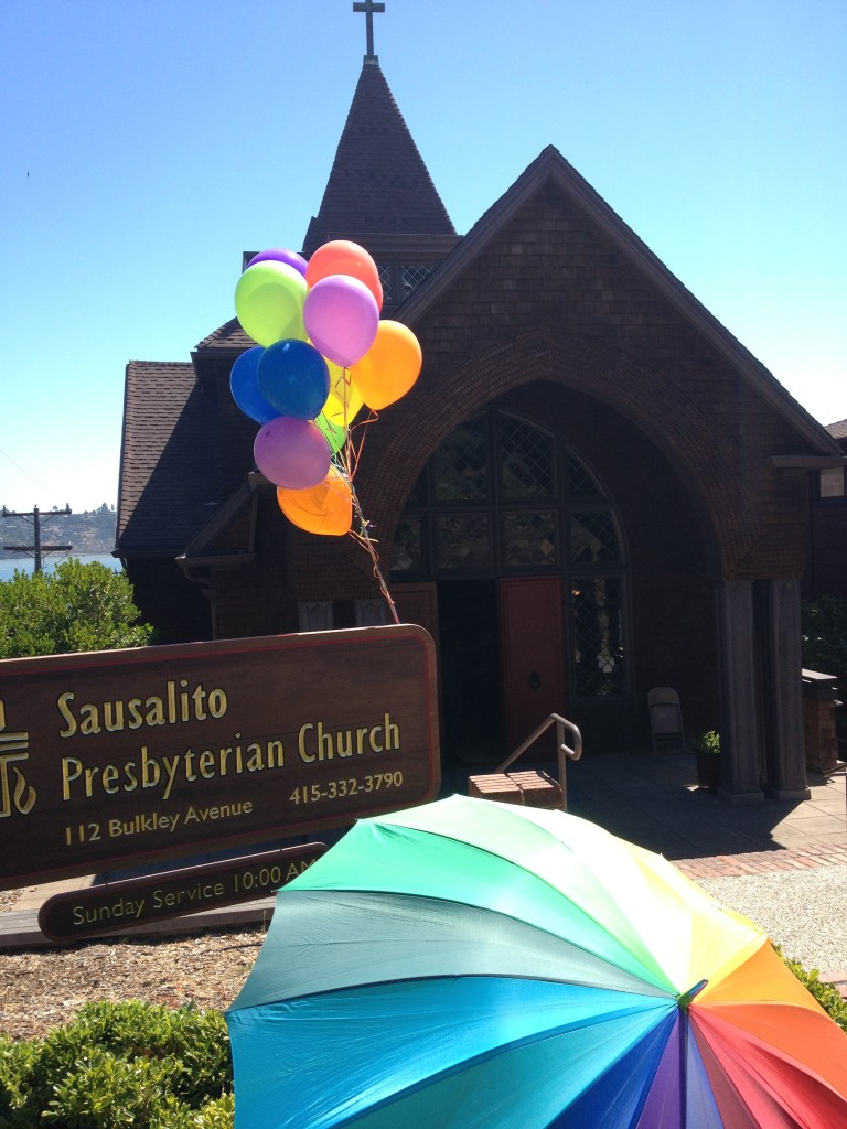 Pride Sunday Umbrella Balloons new sign